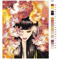 Glezna pēc numuriem - Meitene ar ziediem 40x50 PA88