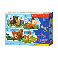 4×PUZZLE 3+4+6+9 Castorland B-005079 FOREST ANIMALS